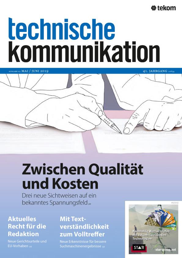 technische kommunikation Mai/Juni 2019 Cover
